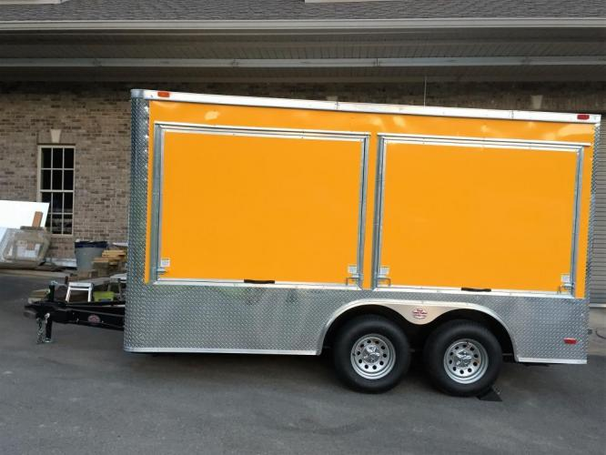 2019 Yellow Freedom 8.5ft X 14ft Concession Trailer , located at 1330 Rainey Rd., Macon, GA, 31220, (478) 960-1044, 32.845638, -83.778687 - Photo #2
