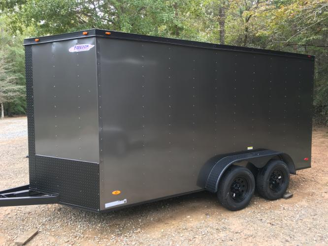2021 Charcoal Metallic w/Black Out Pkg. Freedom 7ft X 16ft Cargo Trailer , located at 1330 Rainey Rd., Macon, GA, 31220, (478) 960-1044, 32.845638, -83.778687 - Photo #14