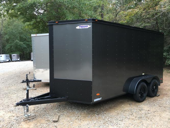 2021 Charcoal Metallic w/Black Out Pkg. Freedom 7ft X 16ft Cargo Trailer , located at 1330 Rainey Rd., Macon, GA, 31220, (478) 960-1044, 32.845638, -83.778687 - Photo #1