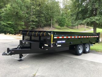 Sold! 8ft X 16ft Sure Trac Brand 7 Ton Dump Trailer, Drop Down Sides, Spreader Gate, Ramps, Powder Coated Paint!