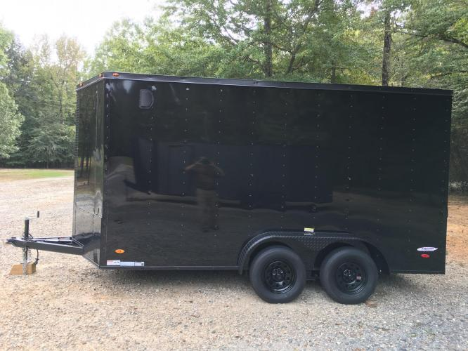2021 Black Freedom Trailers 7ft X 14ft Tandem Black Out Package , located at 1330 Rainey Rd., Macon, GA, 31220, (478) 960-1044, 32.845638, -83.778687 - Photo #1