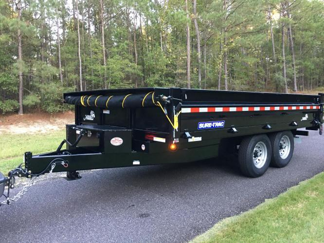 8ft X 14ft Sure Trac 7 Ton Dump Trailer, Scissors Lift, Loading Ramps, Spreader Gate, Tarp, Loaded!