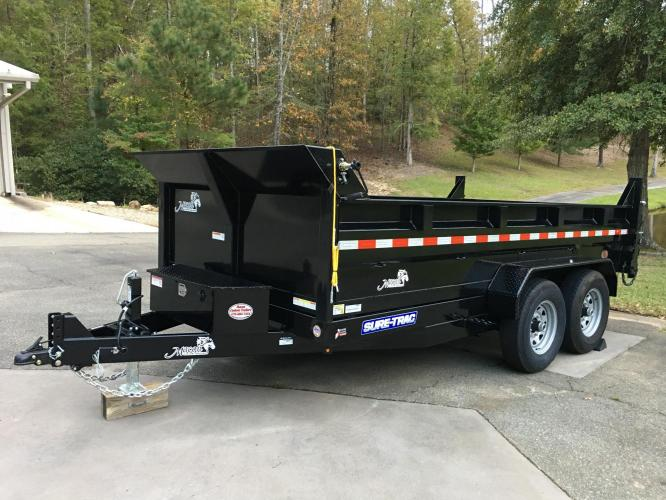 7 Ton Sure Trac Dump Trailer, 7ft X 14ft, Scissors Lift, Loading Ramps, Powder Coated, Spreader Gate, Tarp! Loaded Out!